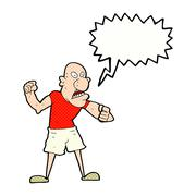 cartoon violent man with speech bubble - stock illustration