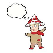 cartoon magical mushroom man with thought bubble - stock illustration