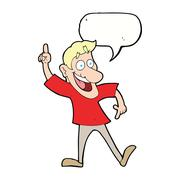 Stock Illustration of cartoon man with great idea with speech bubble