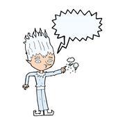 Stock Illustration of jack frost cartoon with speech bubble