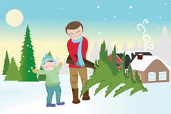 Father and son carrying a christmas tree Stock Illustration