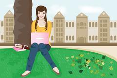 college student - stock illustration