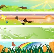spring season banner - stock illustration