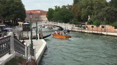 Venice Italy beautiful canal boats bridge fast 4K 002 Stock Footage