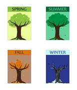 seasonal trees - stock illustration