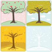 four season trees - stock illustration