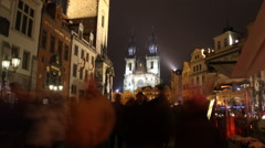 Prague astronomical clock and Old Town Square (time lapse) Stock Footage