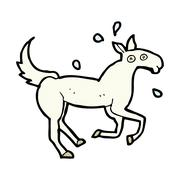 comic cartoon horse sweating - stock illustration