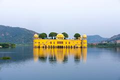 water palace (jal mahal) in man sagar lake. jaipur, rajasthan, india. - stock photo
