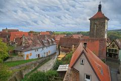 rothenburg on tauber cityscape with house roofs - stock photo