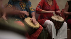 Group of musicians playing drums Stock Footage
