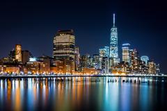 Lower Manhattan by night Stock Photos