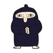 comic cartoon monk in robe - stock illustration