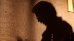 Man Shadow on the wall Stock Footage