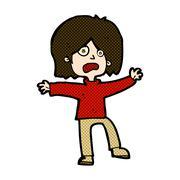 comic cartoon unhappy person - stock illustration
