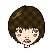 Stock Illustration of comic cartoon unhappy girl