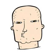 Stock Illustration of comic cartoon bald tough guy