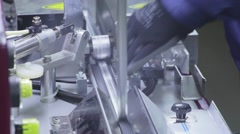 Production of Windows: application of adhesive (butyl) aluminum profile Stock Footage
