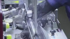 production of Windows: application of adhesive (butyl) aluminum profile - stock footage