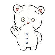 comic cartoon waving polar bear cub - stock illustration
