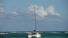 Catamaran near St Maarten Stock Footage