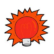 Comic cartoon flashing red light bulb Stock Illustration