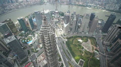 Super wide aerial view of Shanghai skyline Stock Footage