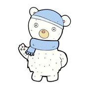 comic cartoon polar bear in winter hat and scarf - stock illustration