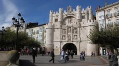 Santa Maria Arch in Burgos Stock Footage