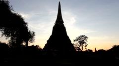 Silhouette Buddhist pagoda in Ayutthaya thailand Stock Footage