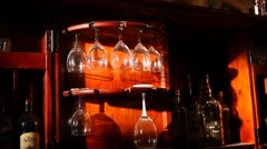 Closeup of drink glass in the bar Stock Footage