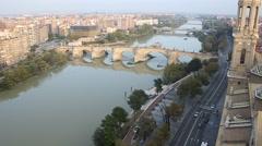 Stone bridge in Zaragoza Stock Footage
