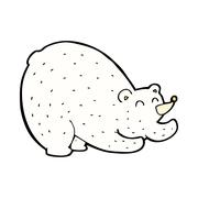 Stock Illustration of comic cartoon stretching polar bear