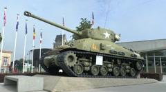 American Sherman tank, Airborne Museum, Sainte-Mère-Église, Normandy, France. Stock Footage