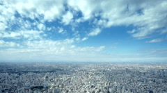 4K Tokyo Tower aerial time lapse Skyline - urban panorama with beautiful clouds Stock Footage