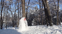 HD. Beautiful snowman made by children's in a camp site. Winter vacation day. - stock footage