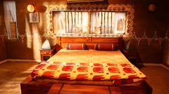Interior of Rural home bed room Stock Footage