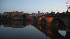 Puente de Piedra (Stone bridge) in Logrono Stock Footage
