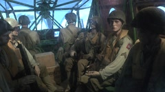 Waco glider paratroopers, Airborne Museum, Sainte-Mère-Église, Normandy. Stock Footage