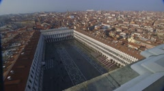 High panorama of Venice flooded, St Mark's Square, high perspective Stock Footage