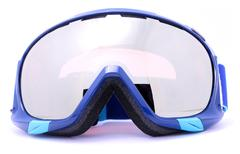 blue winter skiing goggles isolated on white background - stock photo