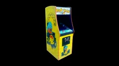 Stock Video Footage of Pac Man Arcade Cabinet - Motion Graphic Effect