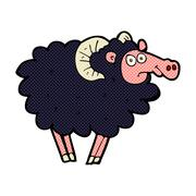 comic cartoon black sheep - stock illustration