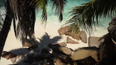 View from above on tiny hidden beach Stock Footage