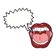 Stock Illustration of cartoon mouth with speech bubble
