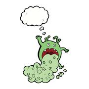 Cartoon gross monster being sick with thought bubble Stock Illustration