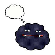 Stock Illustration of cartoon vampire cloud with thought bubble