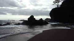 Hawaii Coast with Waves and Rocks and Backlighting - stock footage