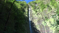 Tall Waterfall at Haleakala National Park in Hawaii Stock Footage