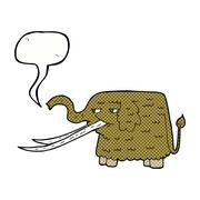 cartoon woolly mammoth with speech bubble - stock illustration